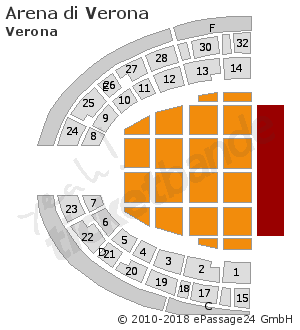 sitzplan saalplan hallenplan arena di verona verona. Black Bedroom Furniture Sets. Home Design Ideas